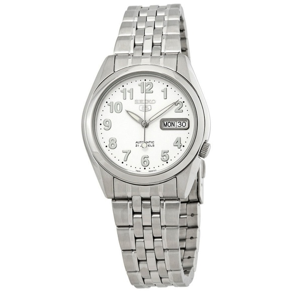 Seiko Series 5 Automatic White Dial Mens Watch Snk Nwt